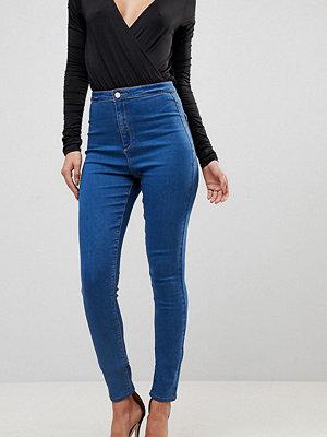 Missguided Tall Vice Superstretchiga jeans med hög midja och extra smal passform Stentvätt