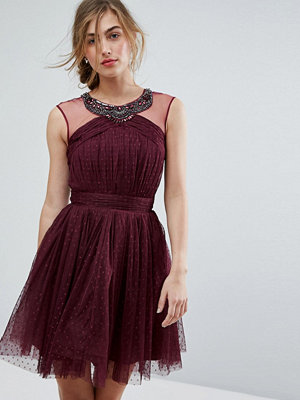 Little Mistress Embellished Mesh Top Full Prom Skater Dress
