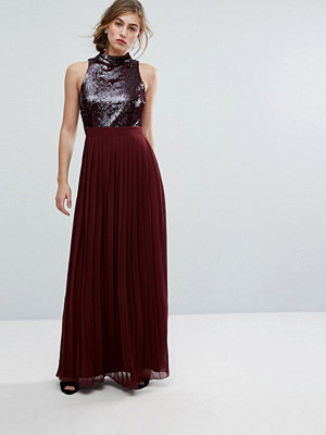 Little Mistress Allover Sequin Top Maxi Dress With Pleated Skirt