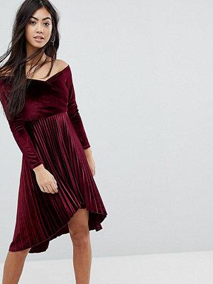 ASOS Petite Velvet Wrap Bardot Pleated Mini Dress