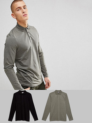 ASOS Long Sleeve Polo In Jersey 2 Pack SAVE