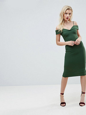 ASOS Scuba Strappy Bardot Pencil Midi Dress - Forest green