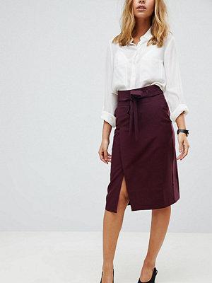 ASOS Petite Tailored Pencil Skirt With Obi Tie - Wine