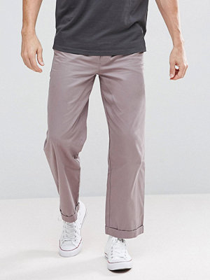 boohooMAN Wide Leg Chinos In Grey - Slate