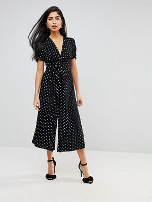 ASOS Tea Jumpsuit with Knot Front in Spot