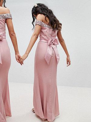Maya Bardot Sequin Detail Maxi Dress With Bow Back Detail - Vintage rose