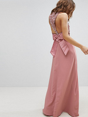 Maya Sleeveless Sequin Bodice Maxi Dress With Cutout And Bow Back Detail - Vintage rose