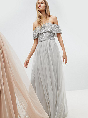 Maya Bardot Sequin Top Tulle Detail Dress With High Low Hem - Micro chip