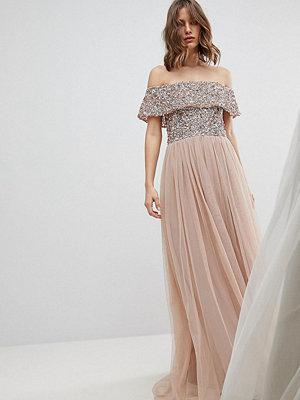 Maya Bardot Sequin Top Tulle Detail Dress With High Low Hem - Taupe blush