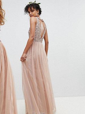Maya Sleeveless Sequin Bodice Tulle Detail Maxi Bridesmaid Dress With Cutout Back - Taupe blush