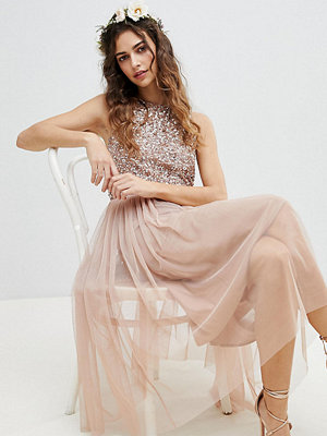 Maya Sleeveless Sequin Bodice Tulle Detail Midi Bridesmaid Dress With Cutout Back - Taupe blush