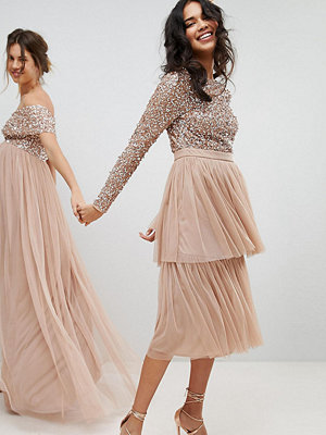 Maya Long Sleeve Sequin Top Midi Dress With Tiered Tulle Skirt - Taupe blush