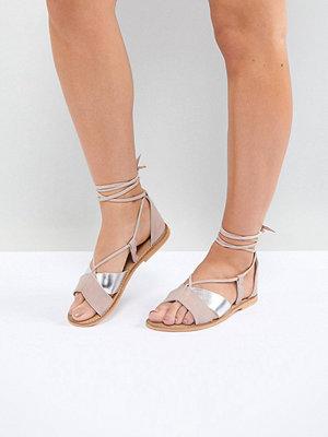 ASOS FOLLOW YOU Wide Fit Suede Tie Leg Sandals