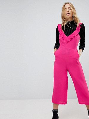 New Look Jumpsuit med culotte-byxor och axelband med volang Hallon