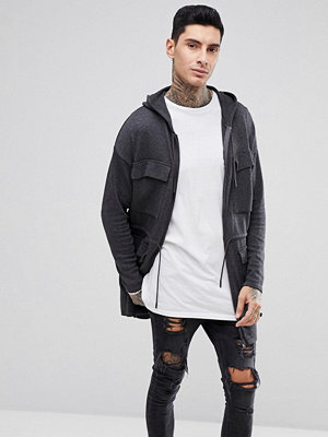 ASOS Knitted Parka In Charcoal - Charcoal