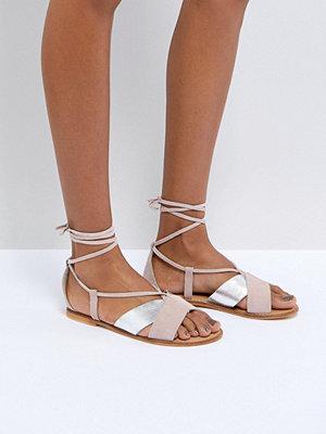ASOS FOLLOW YOU Suede Tie Leg Sandals