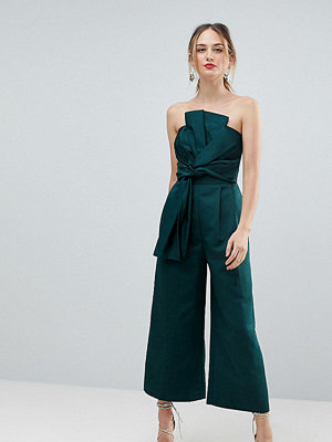 Asos Tall Jumpsuit in Structured Fabric with Knot and Drape Detail