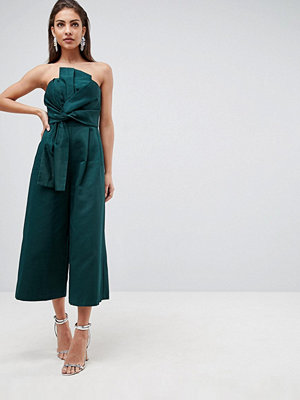 ASOS Jumpsuit in Structured Fabric with Knot Front and Drape Detail