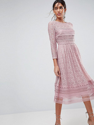 ASOS PREMIUM Lace Midi Skater Dress