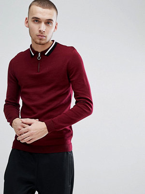 ASOS Knitted Polo With Zip Neck & Contrast Tipping In Burgundy - Burgundy