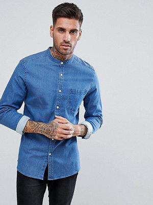 ASOS Stretch Slim Denim Shirt With Grandad Collar In Mid Wash