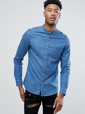 ASOS TALL Stretch Slim Denim Shirt With Grandad Collar In Mid Wash