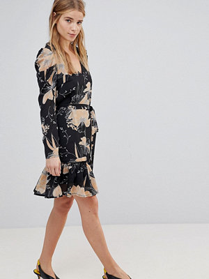 Parisian Floral Print Skater Dress With Tie Waist Belt