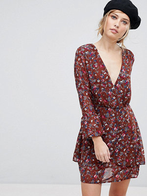 Parisian Floral Wrap Dress - Rust
