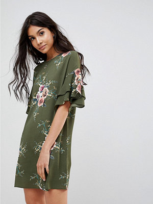 Parisian Floral Shift Dress With Flare Sleeve - Khaki