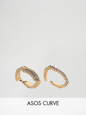 ASOS Curve Exclusive Pack of 2 Stacking Pinky Rings - Rose gold