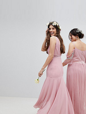 TFNC Maxi Bridesmaid Dress With High Low Hem - Vintage rose
