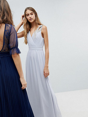 TFNC WEDDING Wrap Front Maxi Dress With Embellished Shoulder