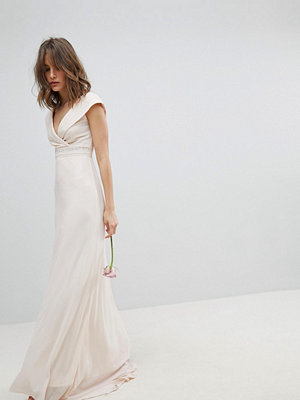 TFNC Bardot Maxi Bridesmaid Dress With Fishtail and Embellished Waist