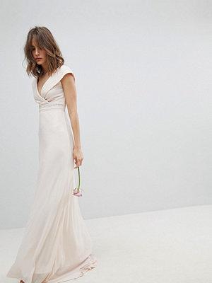 TFNC Bardot Maxi Bridesmaid Dress With Fishtail and Embellished Waist - Nude