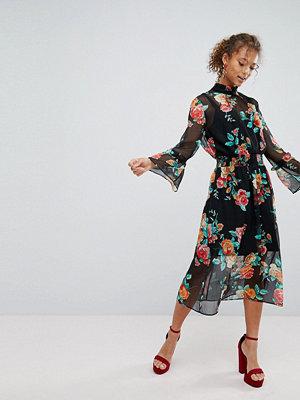 Miss Selfridge High Neck Rose Print Midi Dress