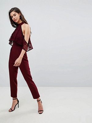 ASOS High Neck Lace Top Jumpsuit with Contrast Binding