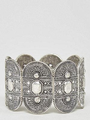 ASOS Curve armband Exclusive Engraved Stretch Bracelet - Rhodium