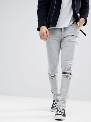 ASOS Super Skinny Jeans In Light Grey With Knee Zips