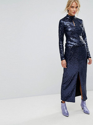 Gestuz Long Sequin Skirt - Peacoat