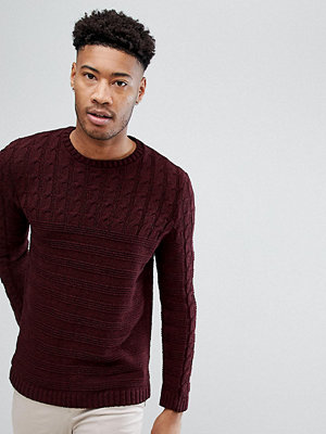 ASOS TALL Cable Knit Yoke Jumper In Burgundy - Burgundy