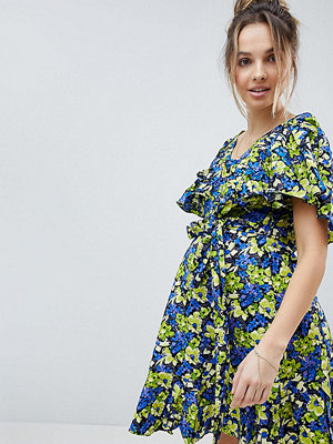 ASOS Maternity Cotton Ruffle mini sundress in Floral Print - Floral
