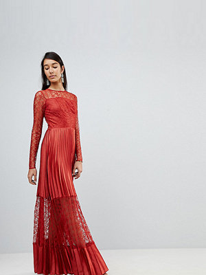 Asos Tall Satin Panelled Lace Pleated Maxi Dress