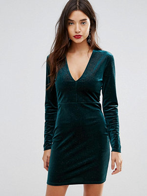Ivyrevel Deep V Pleated Velvet Mini Dress