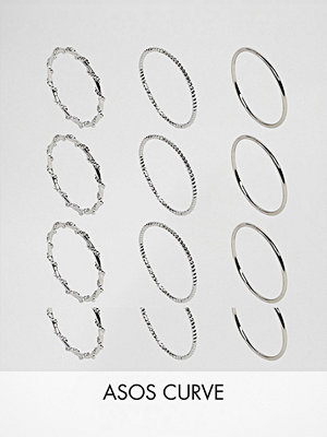 ASOS Curve Pack of 12 Wrap and Faceted Rings - Rhodium