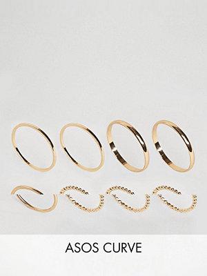 ASOS Curve Pack of 8 Minimal Rings