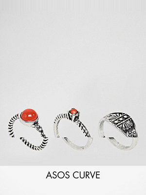 ASOS Curve Exclusive Pack of 3 Stone Detail Rings - Rhodium