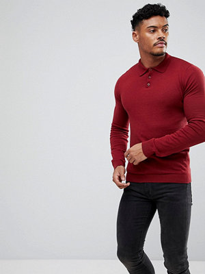 ASOS Knitted Muscle Fit Polo In Burgundy