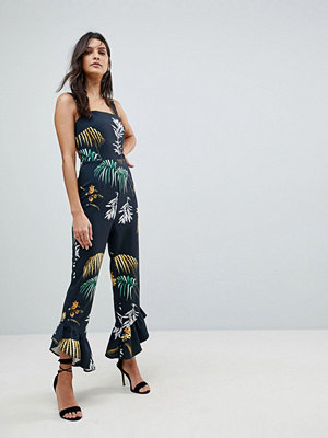 ASOS Square Neck Jumpsuit with Frill Hem in Flamenco Print