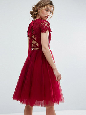 Chi Chi London Midi Tulle Dress with Lace Up Back - Wine