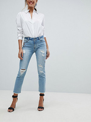 Morgan Embellished Distressed Skinny Jean - Bleach